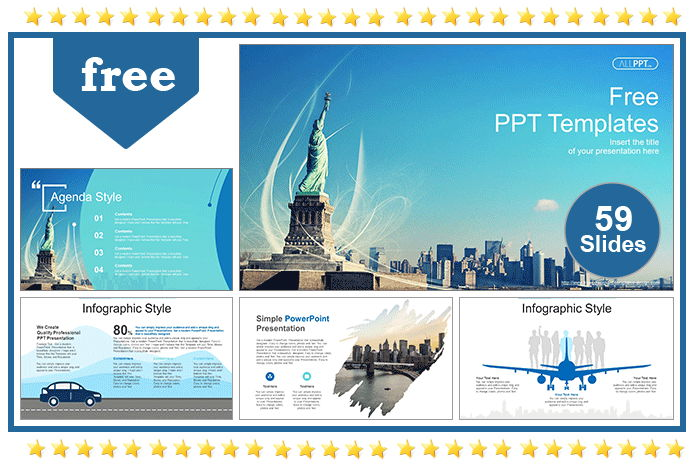 Statue of Liberty New York Skyline PowerPoint Templates